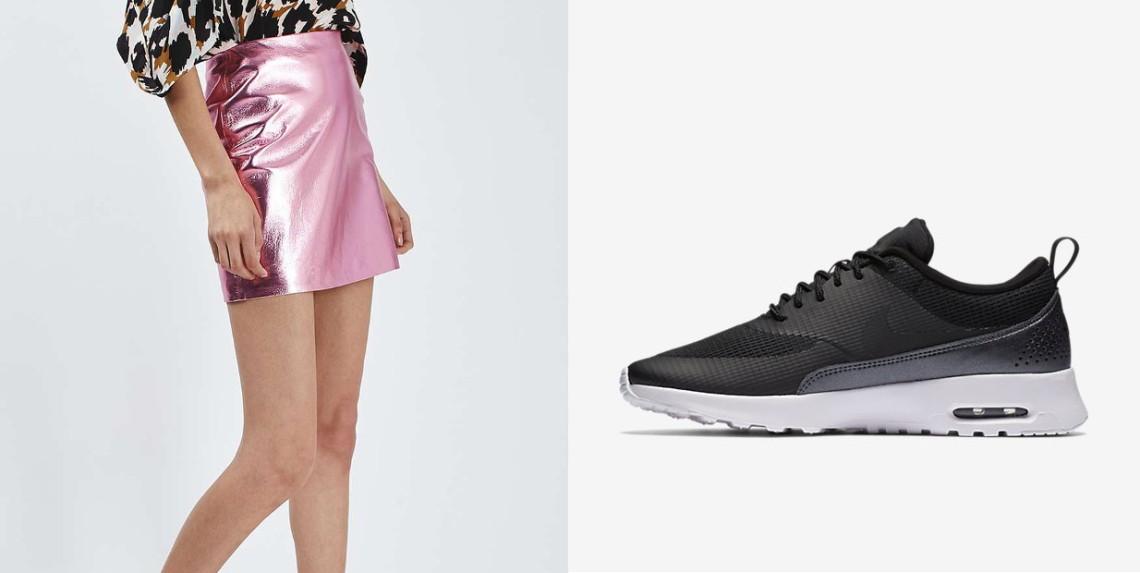 Mini jupe rose Topshop et baskets noires Nike