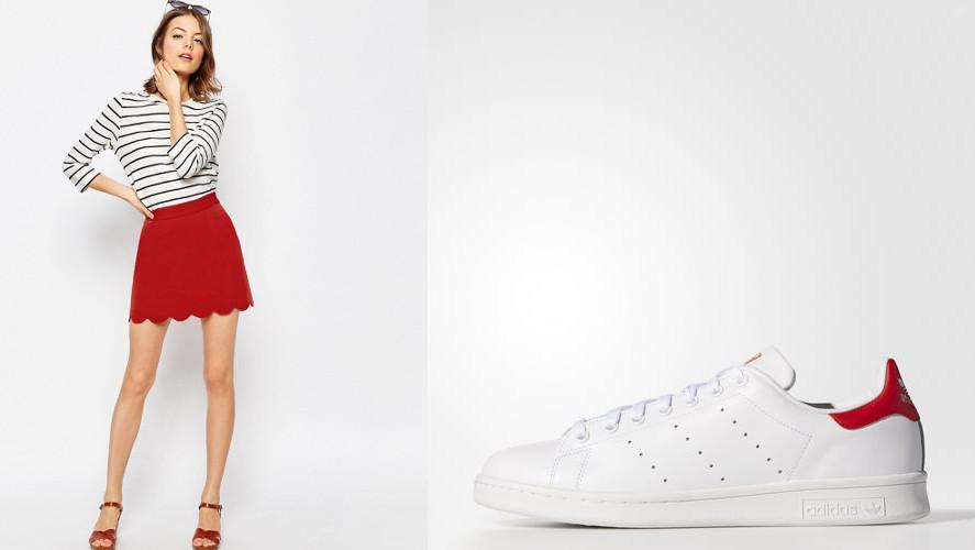 Jupe courte Asos et Stan Smith d'Adidas