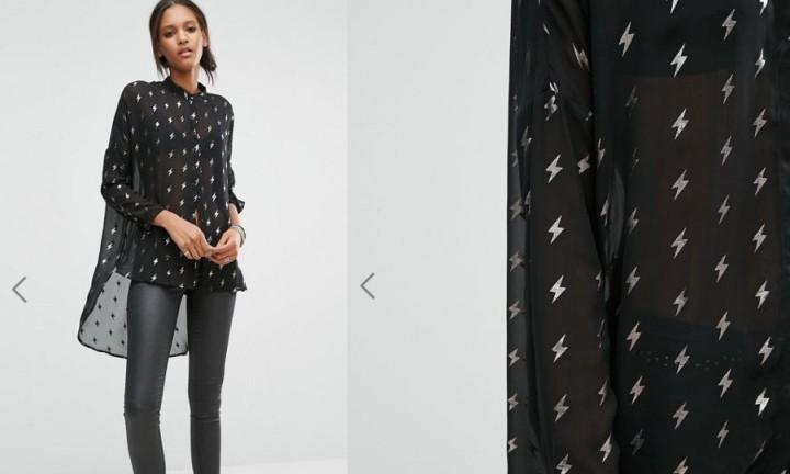 Chemise transparente avec éclairs argentés de Noisy May Tall à 34,99 euros