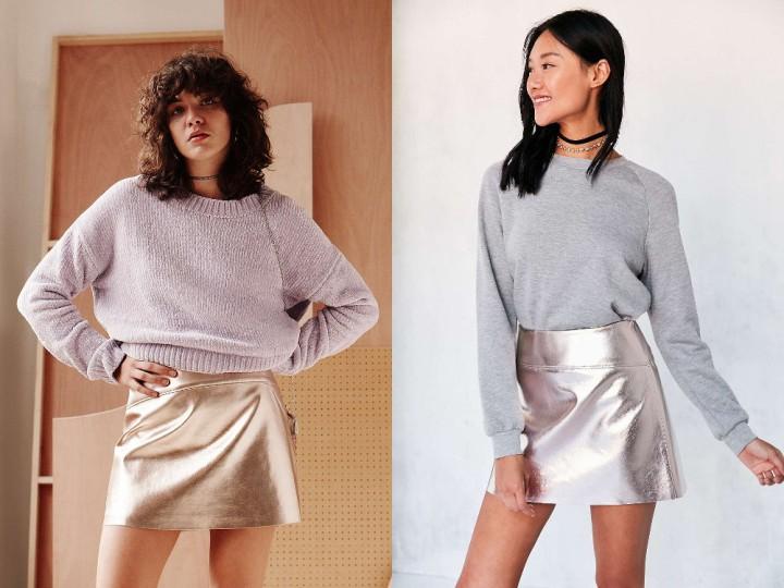 Mini jupe métallique, or ou rose, de Silence + Noise à 79 dollars (74 euros) chez Urban Outfitters